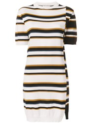 Maison Kitsune Multi Stripe Sweater Dress White