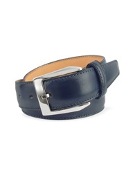 Pakerson Men's Blue Hand Painted Italian Leather Belt Dark Blue