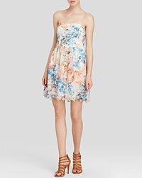 Aqua Dress Strapless Lace Fit And Flare Turquoise Multi