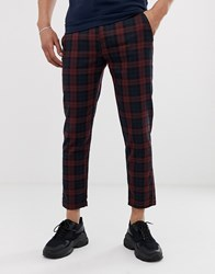 Pull And Bear Pullandbear Slim T Trousers In Navy Check