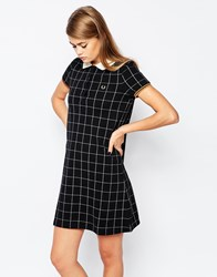Fred Perry Window Pane Print Pique Dress Black