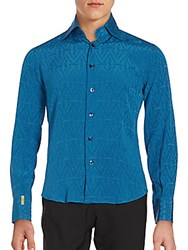 Billionaire Long Sleeve Silk Shirt Prussian Blue