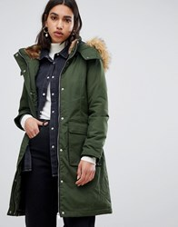 Warehouse Padded Parka Coat With Faux Fur Trim In Khaki Green