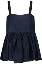 Ellery Silk Gazar Peplum Top Navy