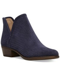 Lucky Brand Baley Perforated Chop Out Booties Women's Shoes Moroccan Blue