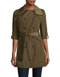 French Connection Solid Double Breasted Trench Coat Olive