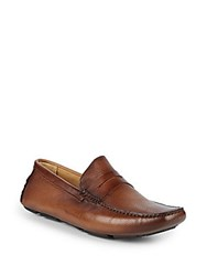 Saks Fifth Avenue Perforated Leather Penny Loafers Havana