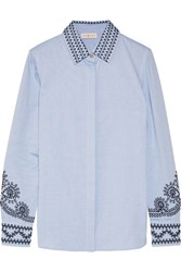 Tory Burch Keegan Embroidered Cotton Chambray Shirt Blue