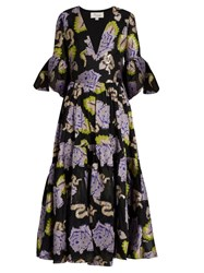 Temperley London Floral Tapestry Fil Coupe Georgette Gown Black Multi