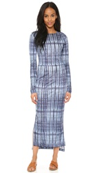 Suno Long Sleeve Dress Blue Tie Dye