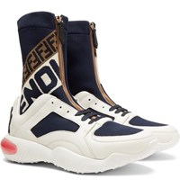 Fendi Logo Jacquard Stretch Knit Panelled Leather High Top Sneakers Multi