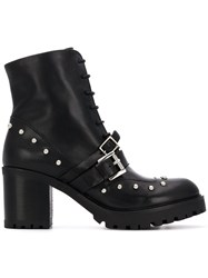 Tosca Blu Buckled Ankle Boots Black