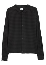 Chapter Frit Checked Linen Blend Shirt Black