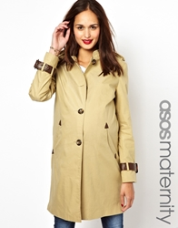 Asos Maternity Mac With Tab Detail Beige