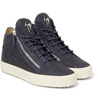 Giuseppe Zanotti Croc Effect Leather Sneakers Navy