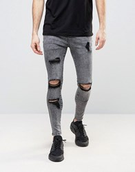 Sik Silk Siksilk Super Skinny Jeans With Distressing Grey