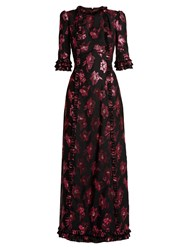 The Vampire's Wife Cate Floral Fil Coupe Gown Black Pink