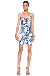 Alexander Wang Leather Structured Cami Dress In Ombre And Tie Dye Blue White