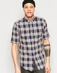 Asos Check Shirt In Brown With Long Sleeve In Regular Fit Blue Black