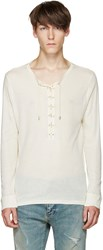 Balmain Off White Lace Up T Shirt