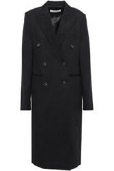 Victoria Beckham Woman Double Breasted Jacquard Trimmed Wool Twill Coat Black