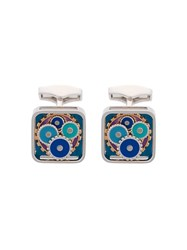 Tateossian Enamel Blues Gear Square Cufflinks Metallic
