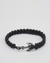 Asos Rope Bracelet With Anchor Black