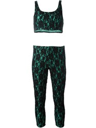 Fendi Vintage Lace Overlay Trousers And Top Suit Black