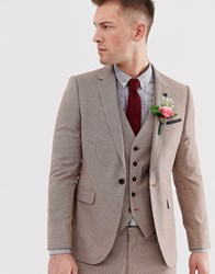 Burton Menswear Wedding Super Skinny Suit Jacket In Black And Red Dogtooth