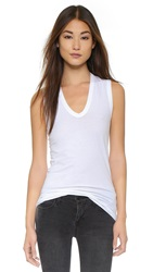 Enza Costa New Bold U Brushed Jersey Tank White