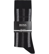 Hugo Boss Striped And Plain Cotton Socks Pack Of Two Black Grey