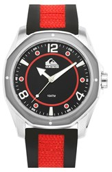 Men's Quiksilver 'The Mariner' Silicone Strap Watch 45Mm Red