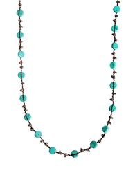 Lucky Brand Silvertone Hammered Coin Necklace Turquoise