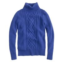 J.Crew Cambridge Cable Turtleneck Sweater Deep Sea