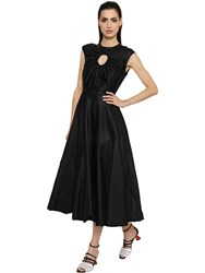 Sportmax Flared Washed Cotton And Silk Satin Dress