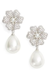 Nina Women's Imitation Pearl And Crystal Drop Earrings Ivory Pearl Silver
