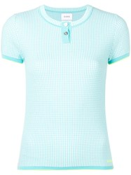 Barrie Cashmere Grid Top Blue