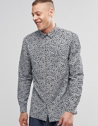 Weekday Royal Floral Print Shirt Long Sleeve Floral Dogtooth Black