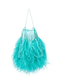 Attico Feathered Clutch Bag Blue