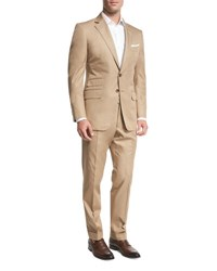 Tom Ford O'connor Base Solid Cotton Two Piece Suit Tan Brown