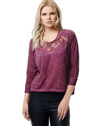 Buffalo David Bitton Heathered Mesh Inset Pullover Merlot