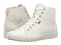 Ecco Soft Vii High Top White White Women's Lace Up Casual Shoes