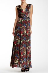 Alice Olivia Triss Print Hammered Genuine Leather Trim Silk Maxi Dress Multi