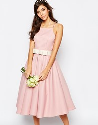 Chi Chi London High Neck Midi Prom Dress With Full Skirt Bridal Rose