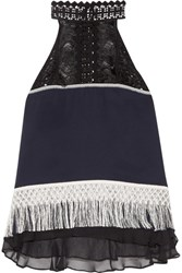 Jonathan Simkhai Fringed Guipure Lace And Chiffon Trimmed Silk Crepe Top Midnight Blue
