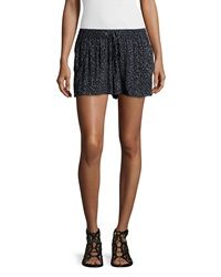French Connection Drawstring Waist Pleated Front Shorts Gray Leopard