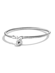 David Yurman Cable Collectibles Heart Lock Bracelet With Diamonds Silver