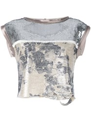 Aviu Sequin Crop Top Metallic