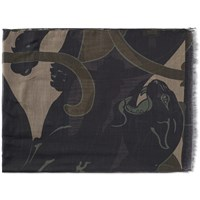 Valentino Camo Panther Scarf Green