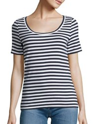 Ag Jeans Breton Striped Cotton Tee Blue Night True White Stripe